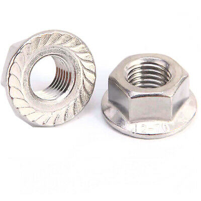 M8 8mm Serrated Hexagon Nut with Toothed Flange A2 stainless DIN 6923-20PK