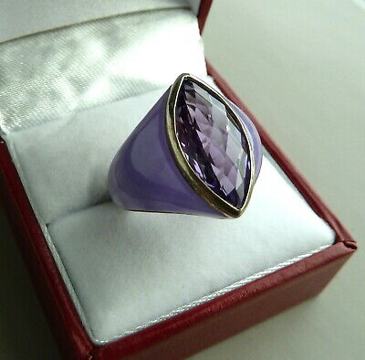 Sterling Silver 925 Nf Marquise Faceted Purple Stone Ring Size 6