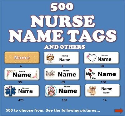 Nurse Name Tag - 25mm x 70mm, 520 To Choose From. (Magnetic or Pin Back)