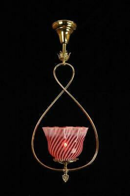 Victorian Gas Style Polished Brass Cranberry Swirl Glass Ceiling Pendant