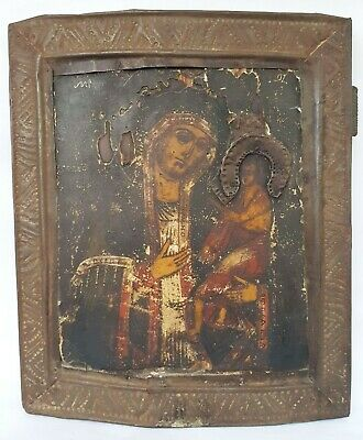 Antique 19th C Russian Hand Painted Icon of the Mother of God Arapet (Arabian)