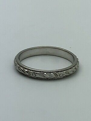Art Deco 18k White Gold Carved Wedding Band Ring Size 7 Antique