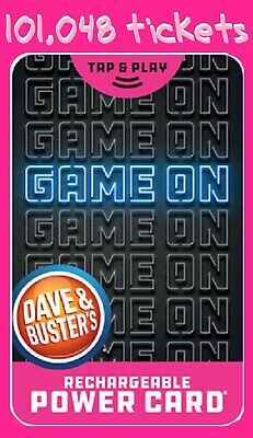 Dave & Busters Power Card 🎮 101,048 Tickets & 233 Chips ❗️ Prizes ~ Points 🎆