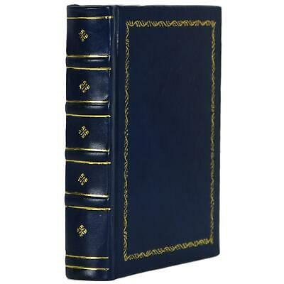 """Old Gilt Blue Leather Bound Book Journal Notebook Diary Ruled Lined 5"""" X 7"""""""