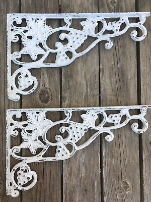 "(Pair) Cast Iron Large (Grapes & Leaves) SHELF BRACKETS RUSTIC 12 5/8"" x 7.5"""