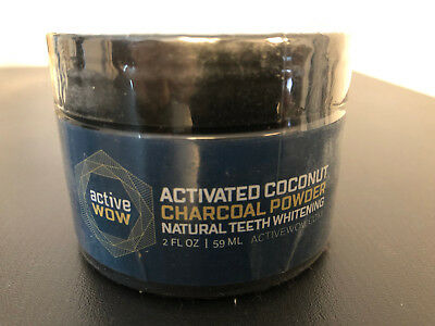 Active Wow Activated Coconut Charcoal Powder Natural Teeth Whitening, 2 oz, New