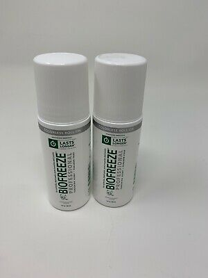 2 BIOFREEZE Professional PAIN RELIEVING GEL 3 oz  COLORLESS ROLL-ON-Exp06/ 2019