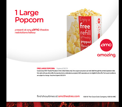 AMC Theatres - 1 Large Popcorn - Expires 06/30/2020 - Free Shipping