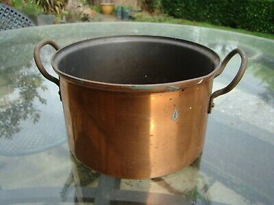 Vintage Heavy Copper Large Cooking Pot Jardiniere Planter With Handles