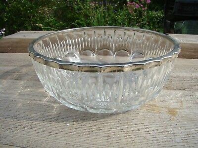 Large French Glass Bowl With Silver Colour Metal Rim Made in France