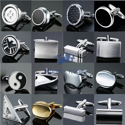 Mens Silver/Black/Crystal/Carved Stainless Steel Rectangle Wedding Cufflinks