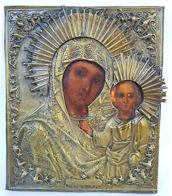 Antique 19th C Russian Hand Painted Icon of Kazan Mother of God in Brass Riza