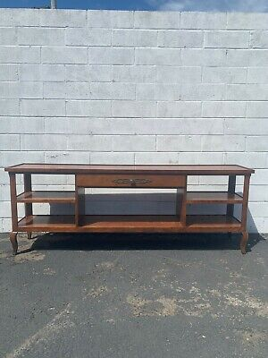 Henredon Console Table Sofa Wood Rustic Farm Antique Primitive Cottage Country