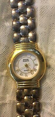 Vintage Retro AK Anne Klein Gold Tone Ladies Quartz Watch Needs Battery