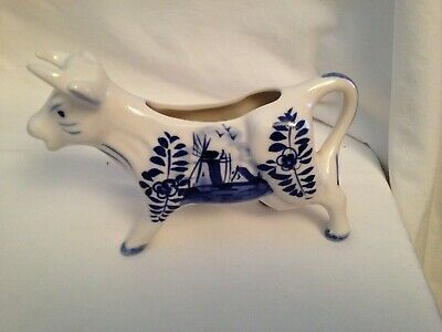 Delft Hand Painted Blue And White Cow Bull Creamer Porcelain China Holland MINT