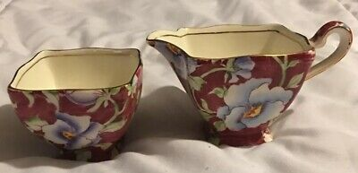 Vintage Royal Winton Grimwades Pansy Chintz China Sugar & Creamer