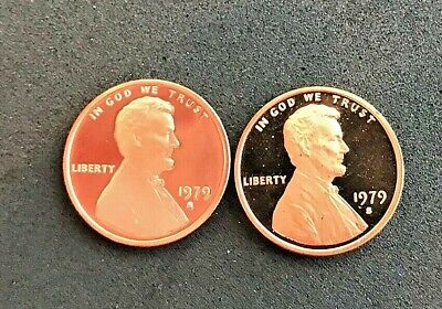 1979 P D S, Type 1 and Type 2 Lincoln cent  Gem Proof & Cello (4 coins)