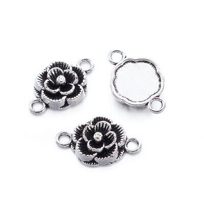 20x Tibetan Silver Alloy Links Connectors Flower Metal Pendants Charms 12x3.5mm