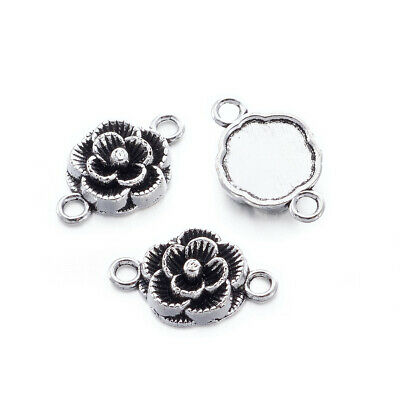 20xTibetan Style Connectors Flower Pendants Charms Jewelry Making Antique Silver