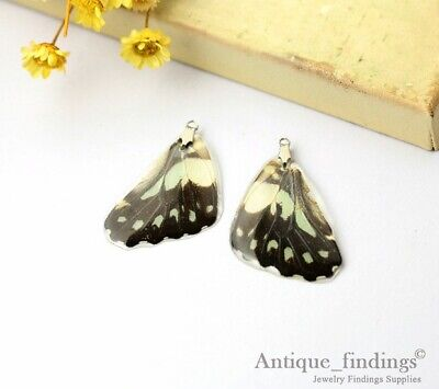 2pcs Real Butterfly Wing Charm Earring Necklace Pendant RW003D