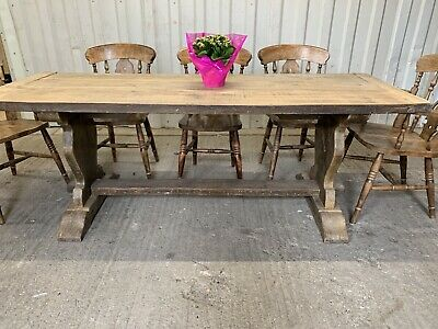 Antique Solid French Oak Farmhouse Rectory Dining Table 6 7ft 2m 8 Seater Plank