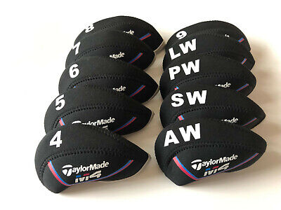 10PCS Golf Iron Covers for Taylormade M4 Club Headcovers Caps 4-LW Black&Black