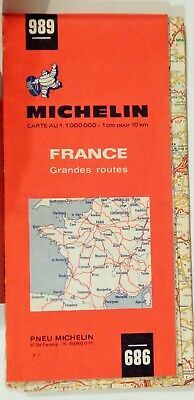 VTG FRANCE grandes routes 1970 Folded Road Map MICHELIN 989 COLLECTIBLE