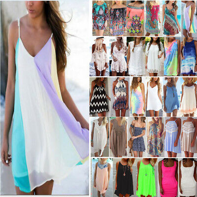 Womens Boho Sundress Bikini Cover Up Kaftan Beach Wear Summer Strappy Mini Dress