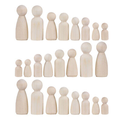 36pc Natural Unfinished Wooden Peg Doll Bodies People Shapes for Arts Crafts