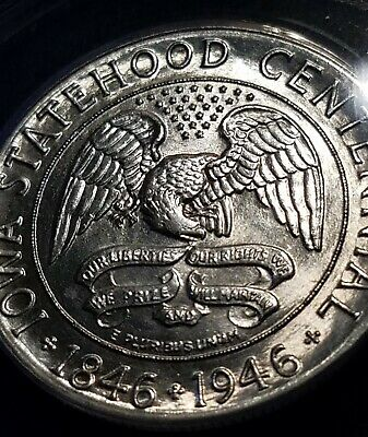 1946 50C Iowa Centennial Commemorative Silver Half Dollar ANACS MS63