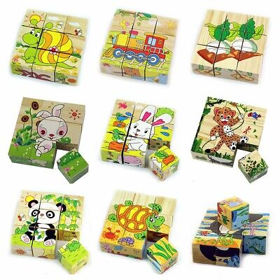 Children Cartoon Puzzle Blocks Colorful Educational Wooden Kids Toy XMAS