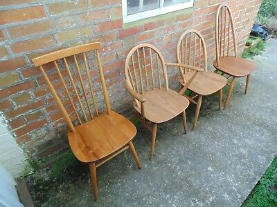 4 Ercol Solid Elm And Beech Dining Chairs Harlequin *Free Delivery Vintage Retro
