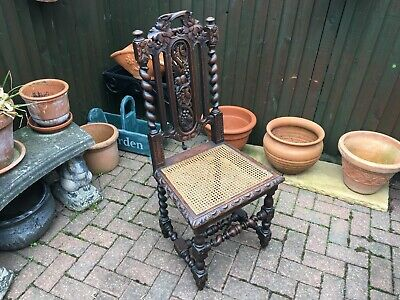 superb 19th century carolean style carved oak hall chair with chain seat