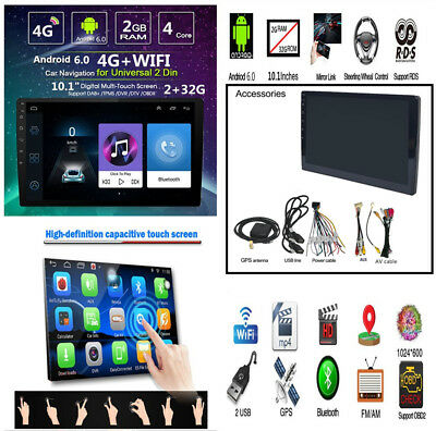 """Android 6.0 10.1"""" HD 2Din Touch Car Stereo Radio GPS MP5 DVR SWC Quad-Core 1+16G"""