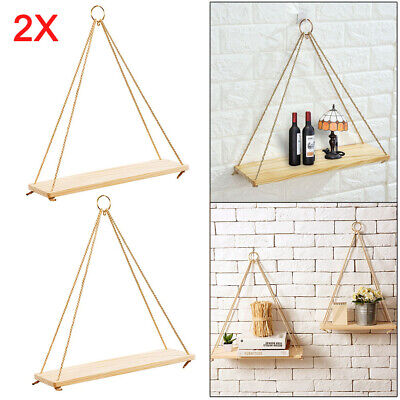 2X Rustic Solid Wood Rope Hanging Wall Shelf Vintage Storage Shelf Home UK