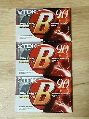 TDK B90 Audio Cassettes Normal Position x 3 New/Sealed