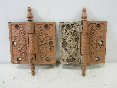 "2 Antique Pat. Date 1877 Steeple Top Door Hinges 4.5"" x 4""  HI#85"