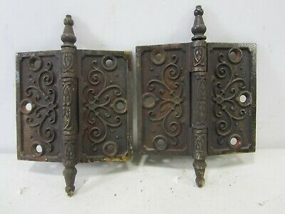 "2 Antique Pat. Date 1877 Steeple Top Door Hinges 4.5"" x 4""  HI#84"