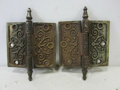 "2 Antique Pat. Date 1877 Steeple Top Door Hinges 4.5"" x 4""  HI#81"