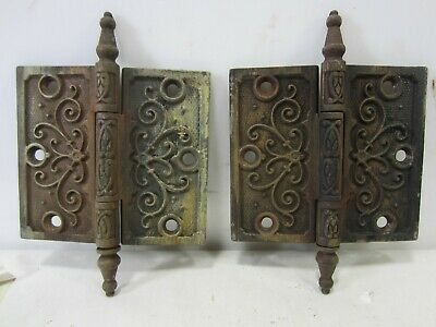 "2 Antique Pat. Date 1877 Steeple Top Door Hinges 4.5"" x 4""  HI#78"
