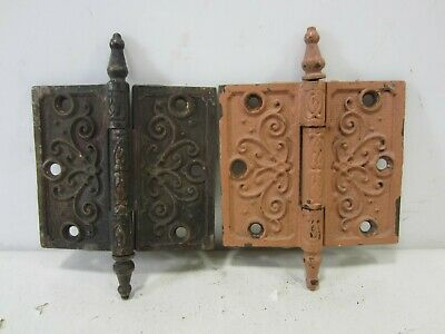 "2 Antique Pat. Date 1877 Steeple Top Door Hinges 4.5"" x 4""  HI#83"