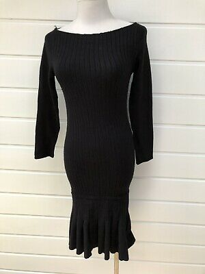 3fb6349b ZARA Black Stretch Fitted Knit Ribbed Long Sleeve Dress With Fluted Hem -  Medium