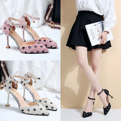 Womens High Heels Ankle Strap Sandals Ladies Polka Dot Casual Pointed Toe Shoes