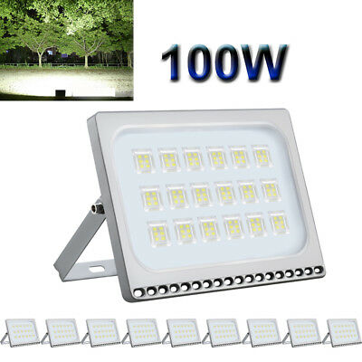 10x 100W Ultra-thin LED Floodlights High Bright Cool White Outdoor Seucrity Lamp