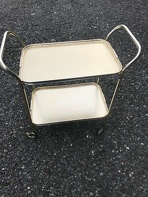 Vintage Retro Two Tier Hostess Tea Trolley Drinks Cocktails Gold Mid Century ❤️