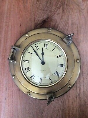 vintage antique  quartz quaritime brass gold wall clock