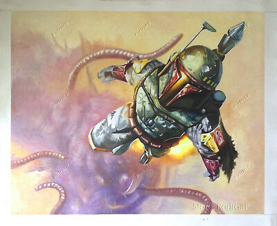 Star Wars Oil Painting Boba Fett Hand-Painted Art Canvas NOT Print Poster 24x30