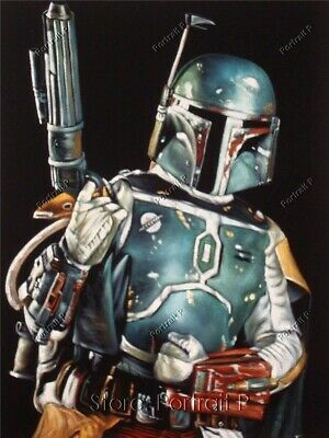 Star Wars Boba Fett Hand-Painted Art Oil Painting on Canvas NOT a Print 24x36