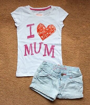 Girls Next T Shirt And Cherokee Denim Shorts Summer Outfit Age 5-6 116cm