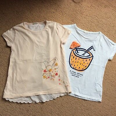2x Girls Zara Short Sleeve Summer T Shirts Tops Age 9-10 140cm